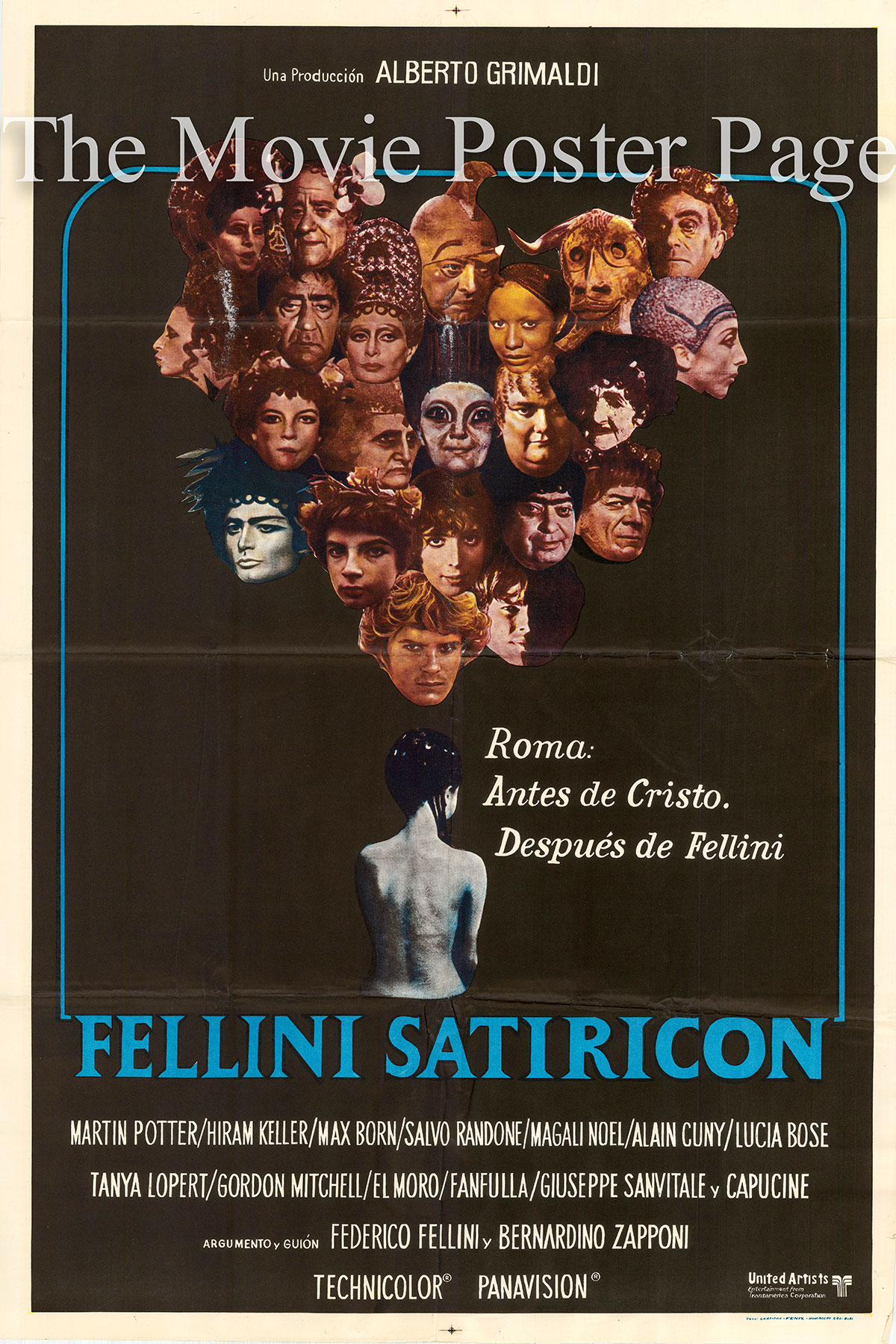 Pictured is an Argentine one-sheet poster for the 1969 Federico Fellini film Satyricon starring Martin Potter as Encolpio.