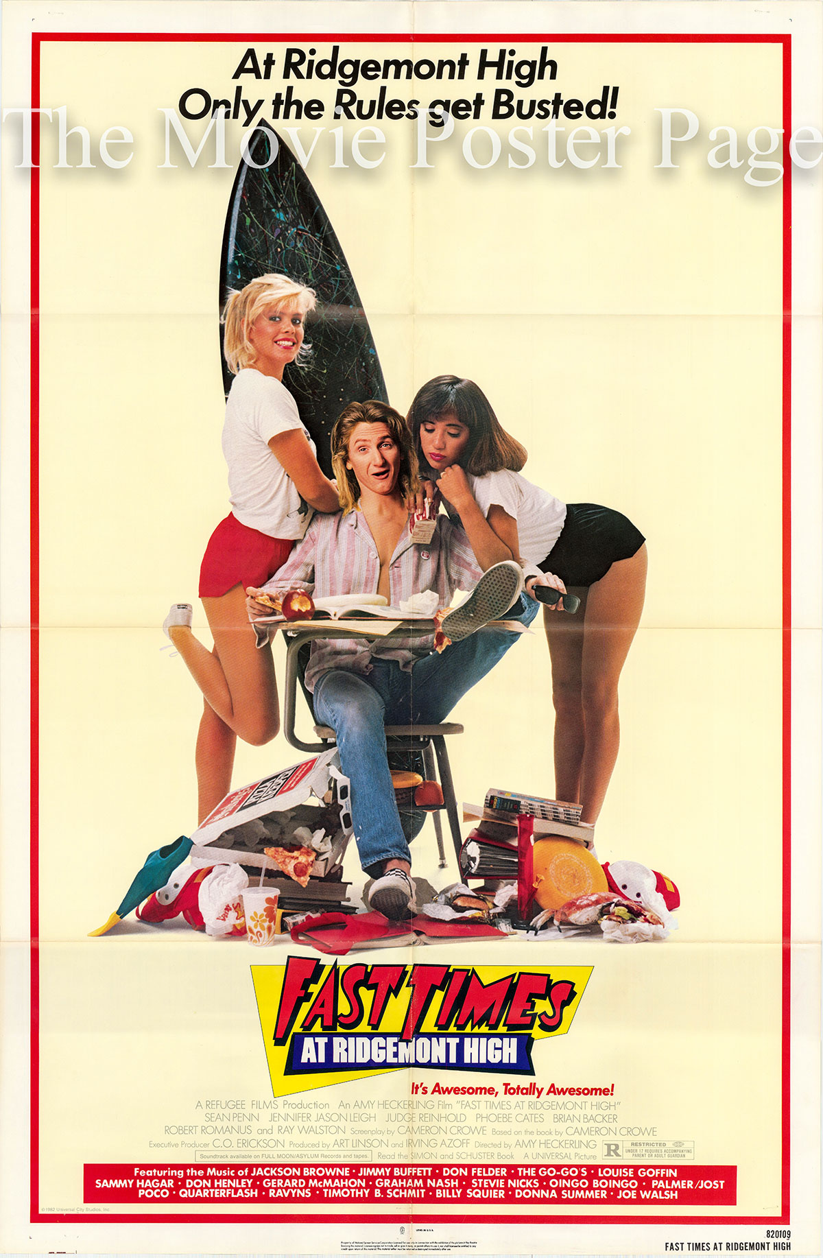 Pictured is a US one-sheet poster for the 1982 Amy Heckerling film Fast Times at Ridgemont High starring Sean Penn as Jeff Spicoli.