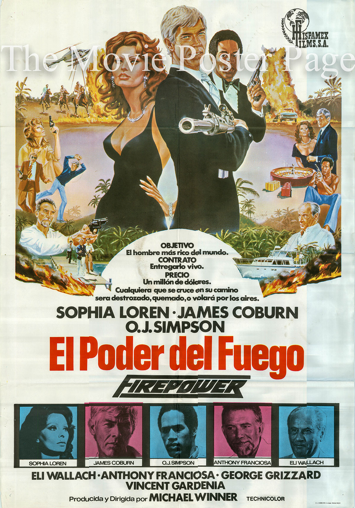 Pictured is a Spanish one-sheet for the 1979 Michael Winner film Firepower starring James Coburn as Jerry Fanon.
