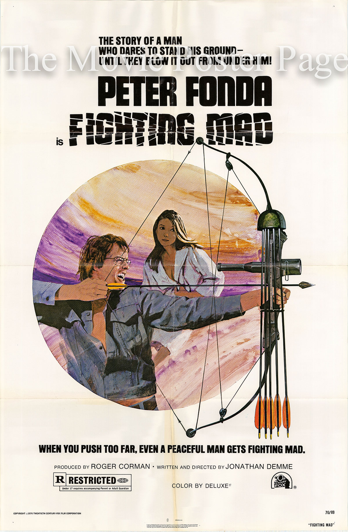 Pictured is a US promotional poster for 1976 Jonathan Demme film Fighting Mad starring Peter Fonda.