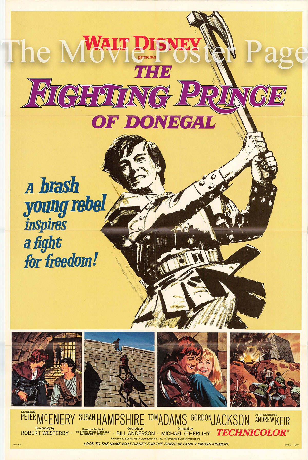 Pictured is a US one-shset poster for the 1966 Michael O'Herlihy film The Fighting Prince of Donegal starring Peter McEnery as Hugh O'Donnell.