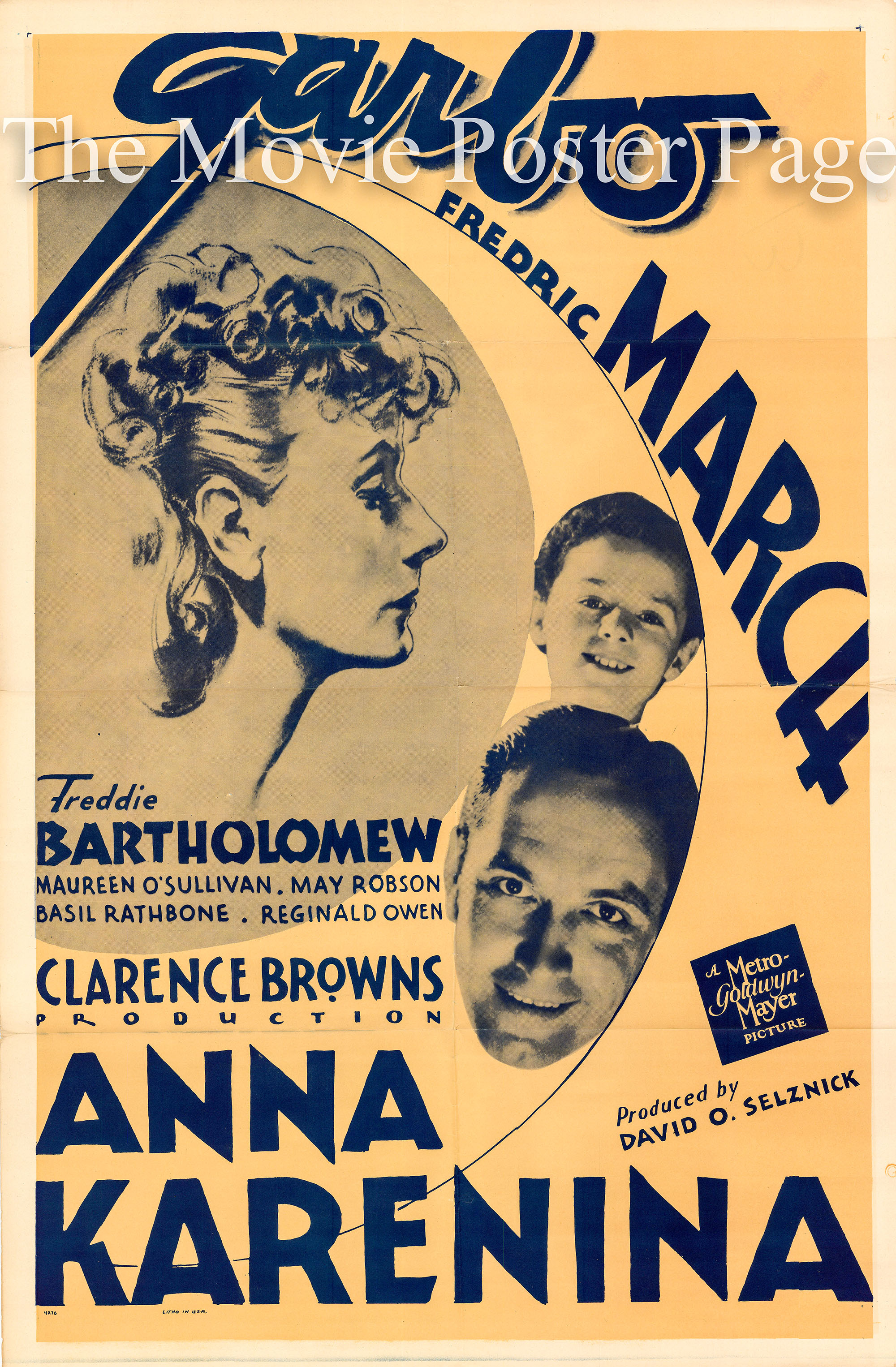 Pictured is a US promotional one-sheet poster for a 1950s rerelease of the 1935 Clarence Brown film Anna Karenina starring Greta Garbo as Anna Karenina.