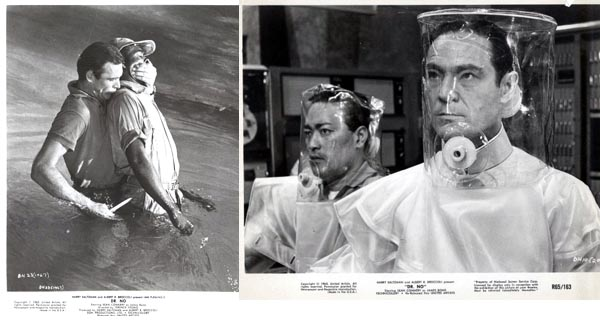 Pictured are two black-and-white promotional stills from the 1962 Terence Young film Dr. No starring Sean Connery and Ursula Andress.