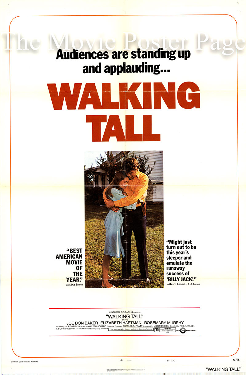 Pictured is a US one-sheet poster for the 1973 Phil Karlson film Walking Tall starring Joe Don Baker as Buford Pusser.