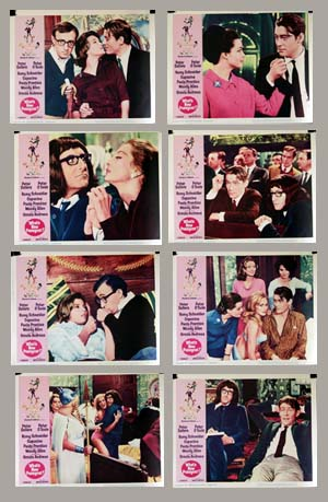Pictured is a US lobby card set for the 1965 Clive Donner and Richard Talmadge film What's New Pussycat starring Peter Sellers as Dr. Fritz Fassbender.