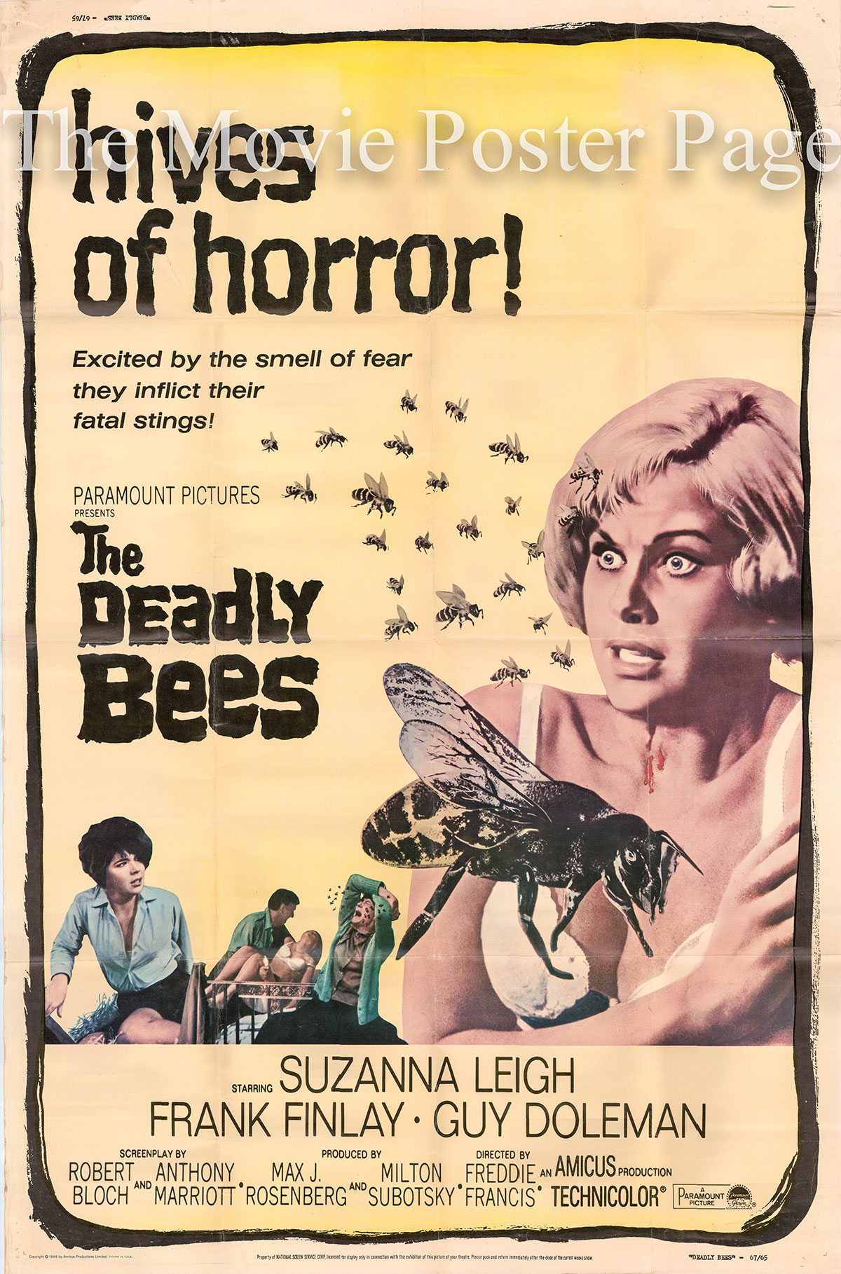 Pictured is a US promotional 40x60 poster for the 1967 Freddie Francis film The Deadly Bees starring Suzanna Leigh as Vicki Robbins.