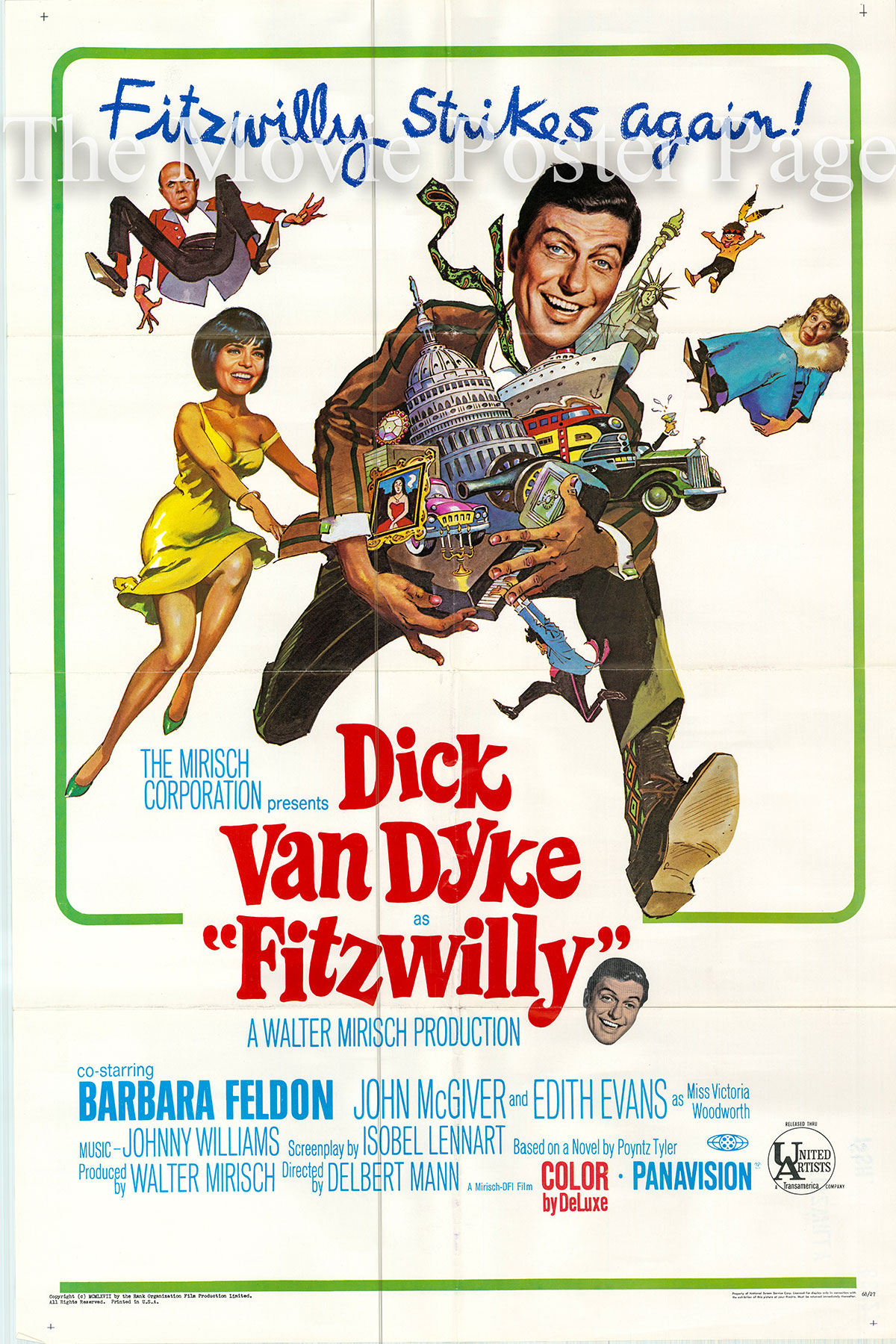 Pictured is a US one-sheet promotional poster for the 1967 Delbert Mann film Fitzwilly starring Dick Van Dyke as Claude R. Fitzwilliam.