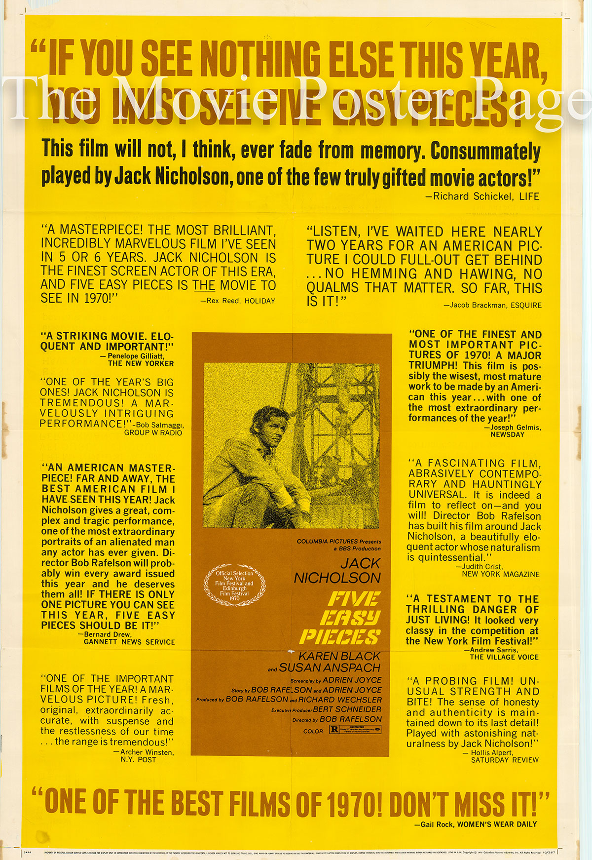 Pictured is a US reviews one-sheet poster for the 1970 Bob Rafelson film Five Easy Pieces starring Jack Nicholson.
