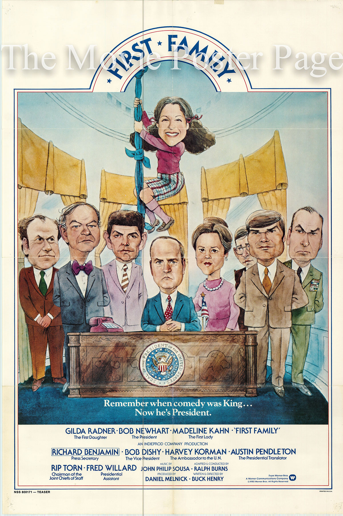 Pictured is a US one-sheet poster for the 1980 Buck Henry film First Family starring Bob Newhart as the president.