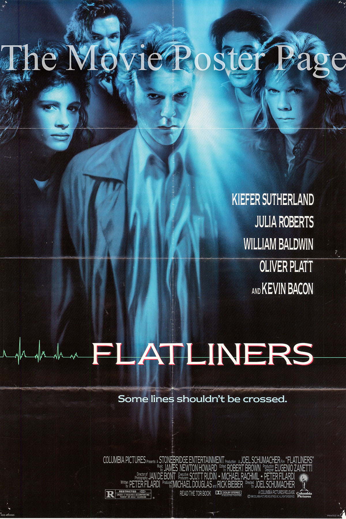 Pictured is a US one-sheet for the 1990 Joel Schumacher film Flatliners starring Kiefer Sutherland.