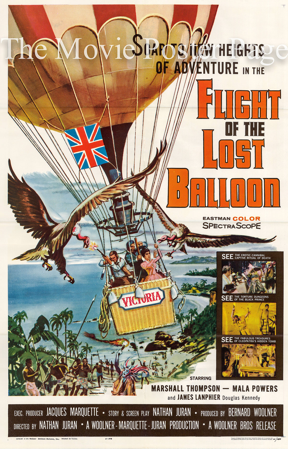 Pictured is a US one-sheet poster for the 1961 Nathan Juran film Flight of the Lost Balloon starring Marshall Thomnpson as Dr. Joseph Farady.
