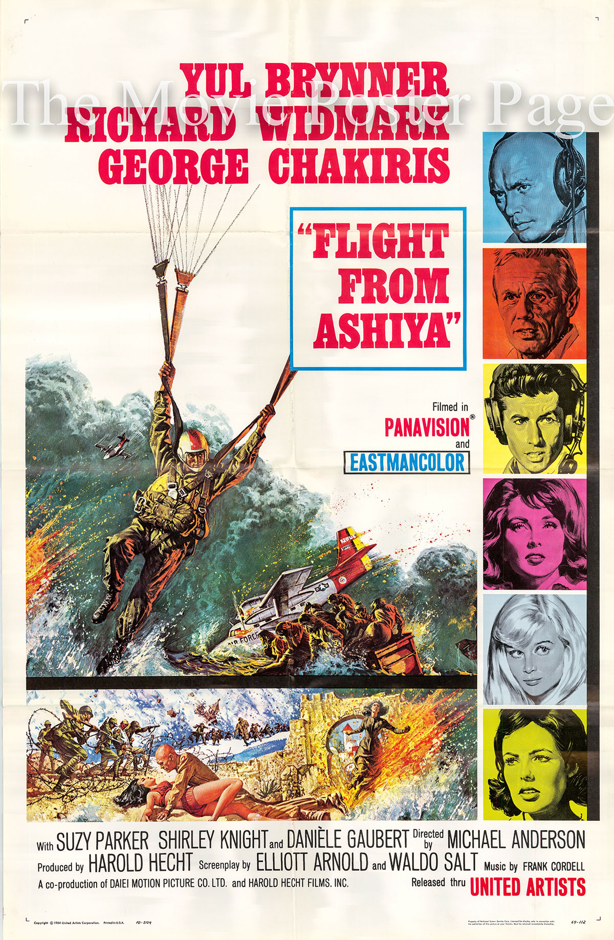 Pictured is a US one-sheet poster for the 1964 Michael Anderson film Flight from Ashyia starring Yul Brynner as Mike Takashima.