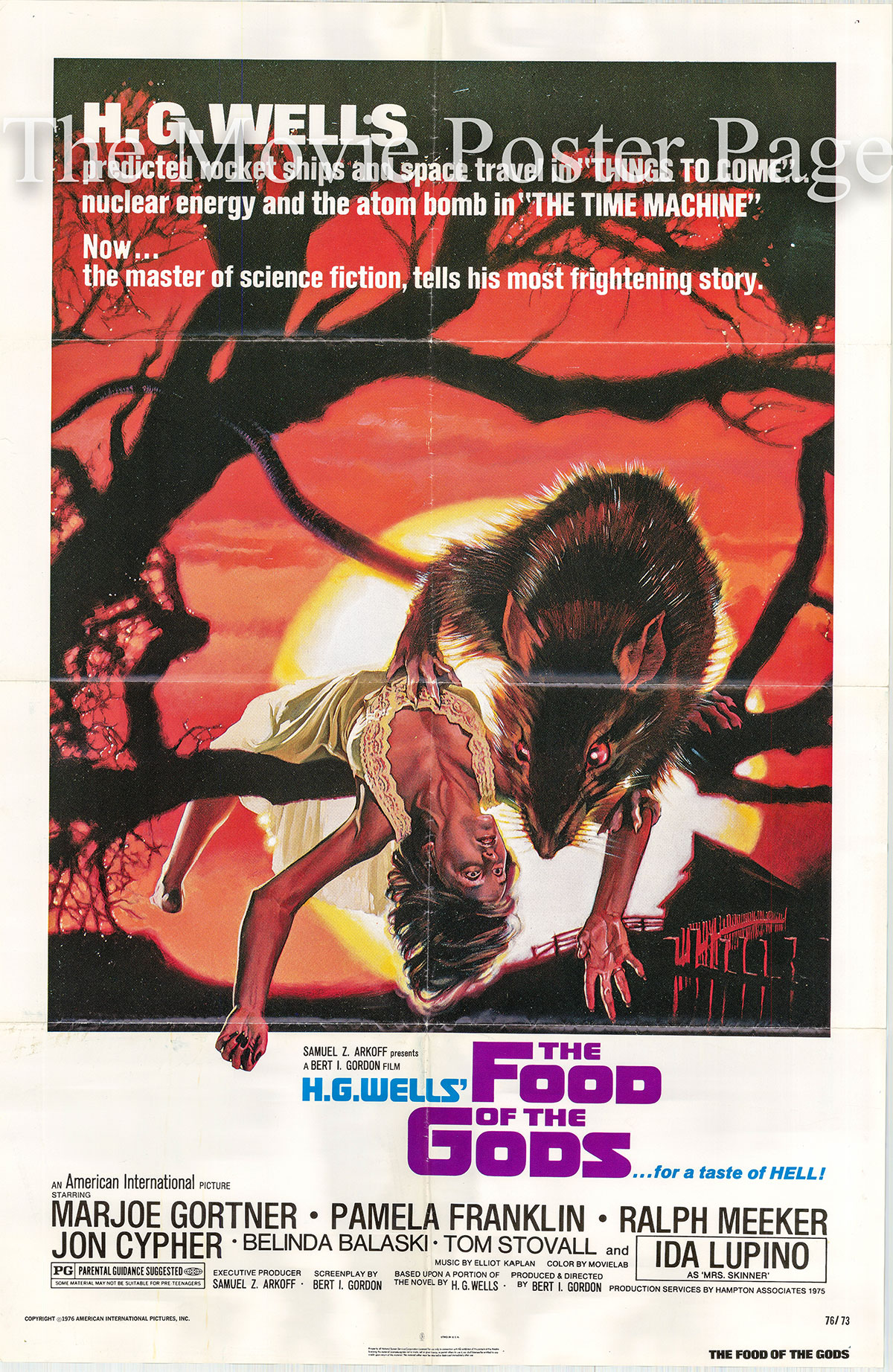 Pictured is a US one-sheet poster for the 1976 Bert I. Gordon film The Food of the Gods starring Marjoe Gortner as Morgan.