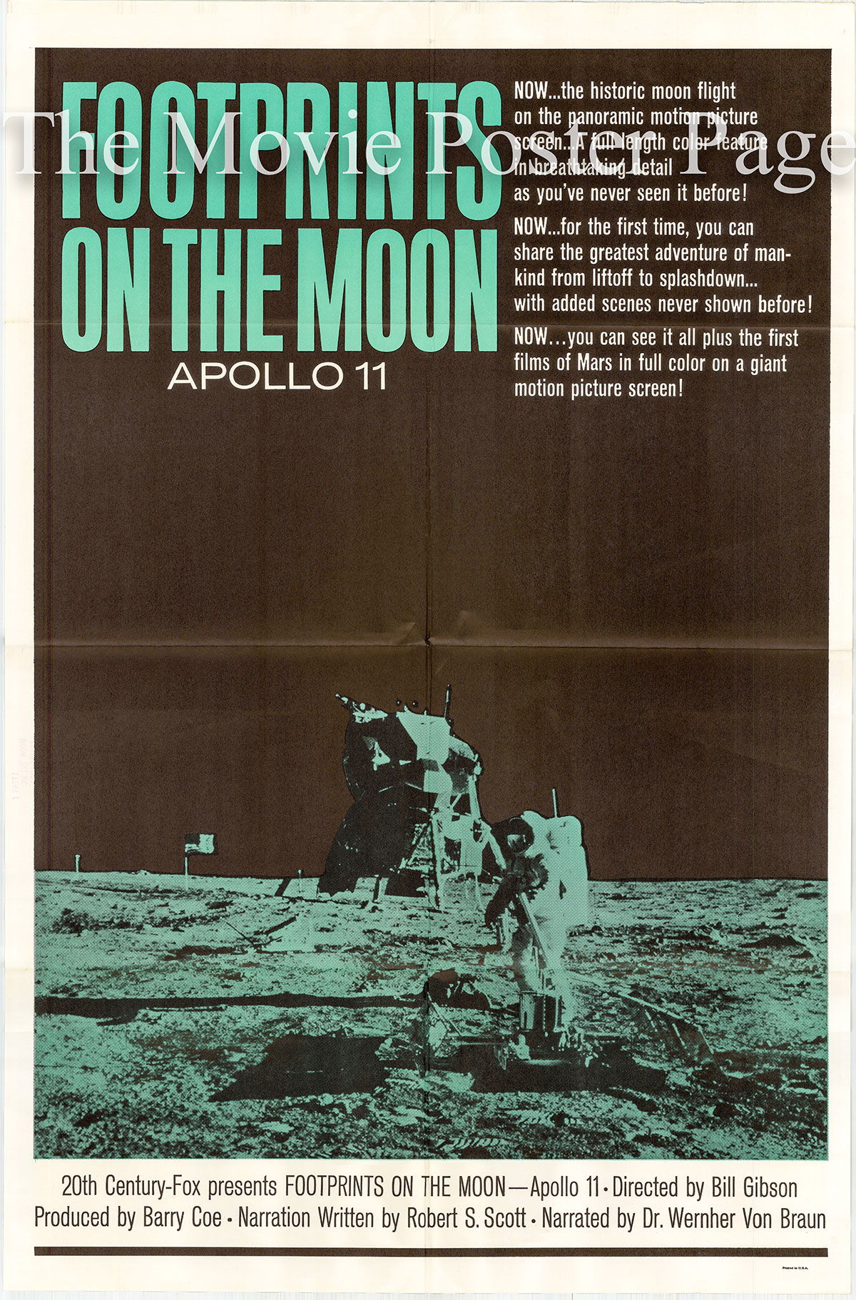 Pictured is a US one-sheet poster for the 1969 Bill Gibson film Footprints on the Moon: Apollo 11 narrated by Wernher von Braun.