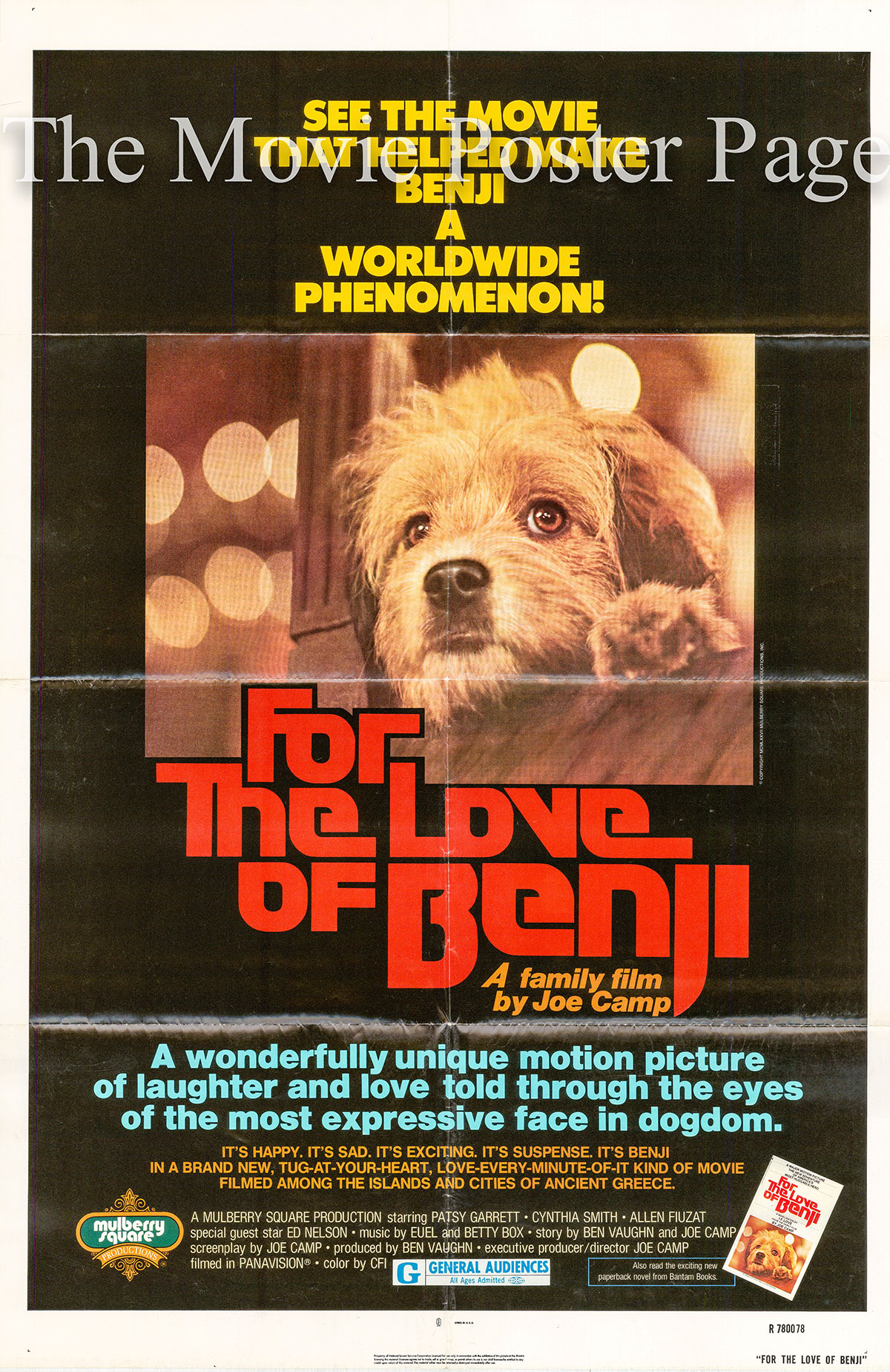 Pictured is a US one-sheet poster for a 1978 rerelease of the 1977 Joe Camp film for the Love of Benji.