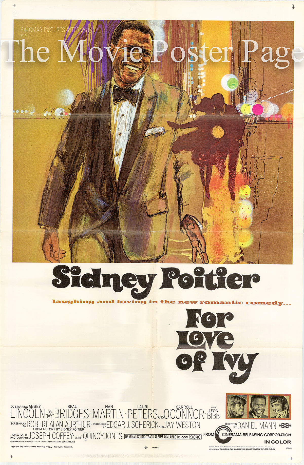 Pictured is a US one-sheet poster for the 1968 Daniel Mann film For Love of Ivy starring Sidney Poitier as Jack Parks.