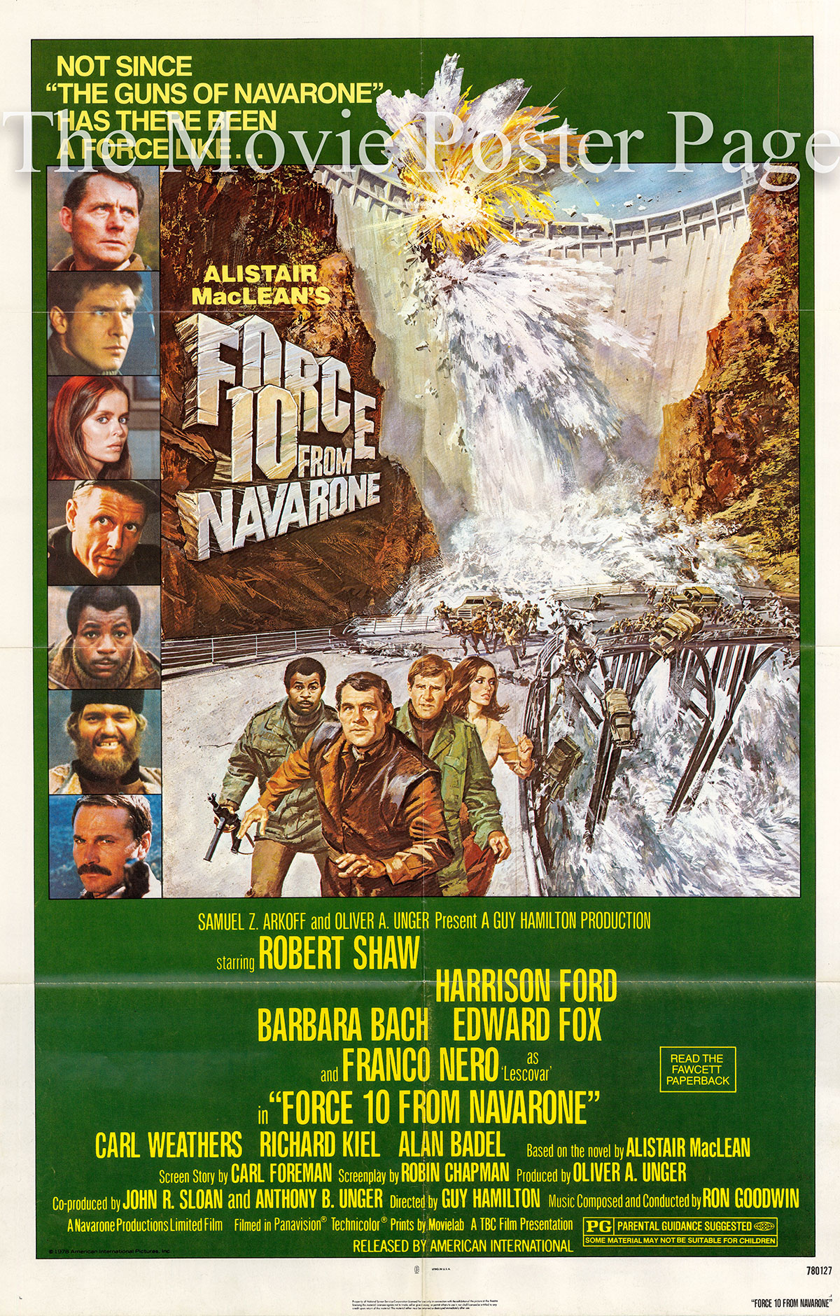 Pictured is a US one-sheet poster for the 1978 Guy Hamilton film Force 10 from Navarone starring Robert Shaw and Harrison Ford.