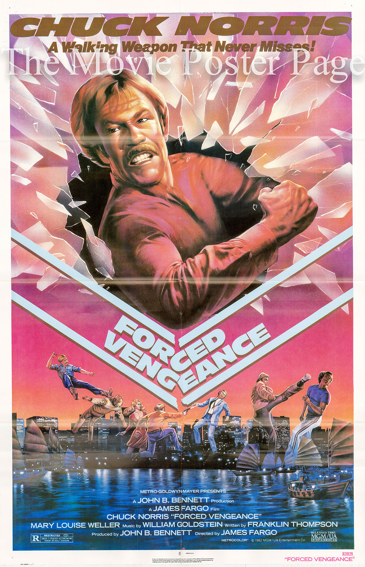 Pictured is a US one-sheet poster for the 1982 James Fargo film Forced Vengenace starring Chuck Norris as Josh Randall.
