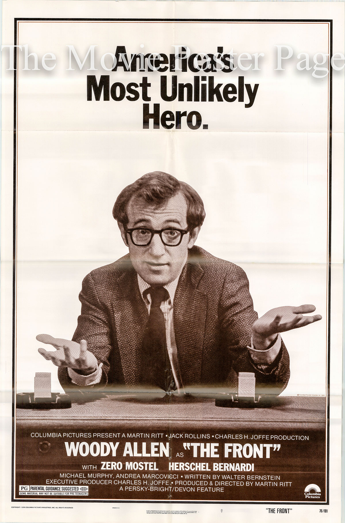 Pictured is a US one-sheet poster for the 1976 Martin Ritt film The Front starring Woody Allen as Howard Prince.