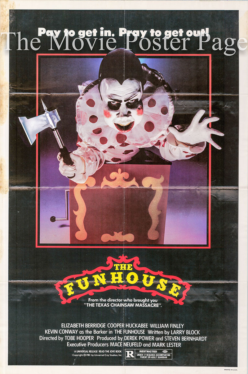 Pictured is a US one-sheet poster for the 1981 Tobe Hooper film The Funhouse starring Elizabeth Berridge as Amy Harper.