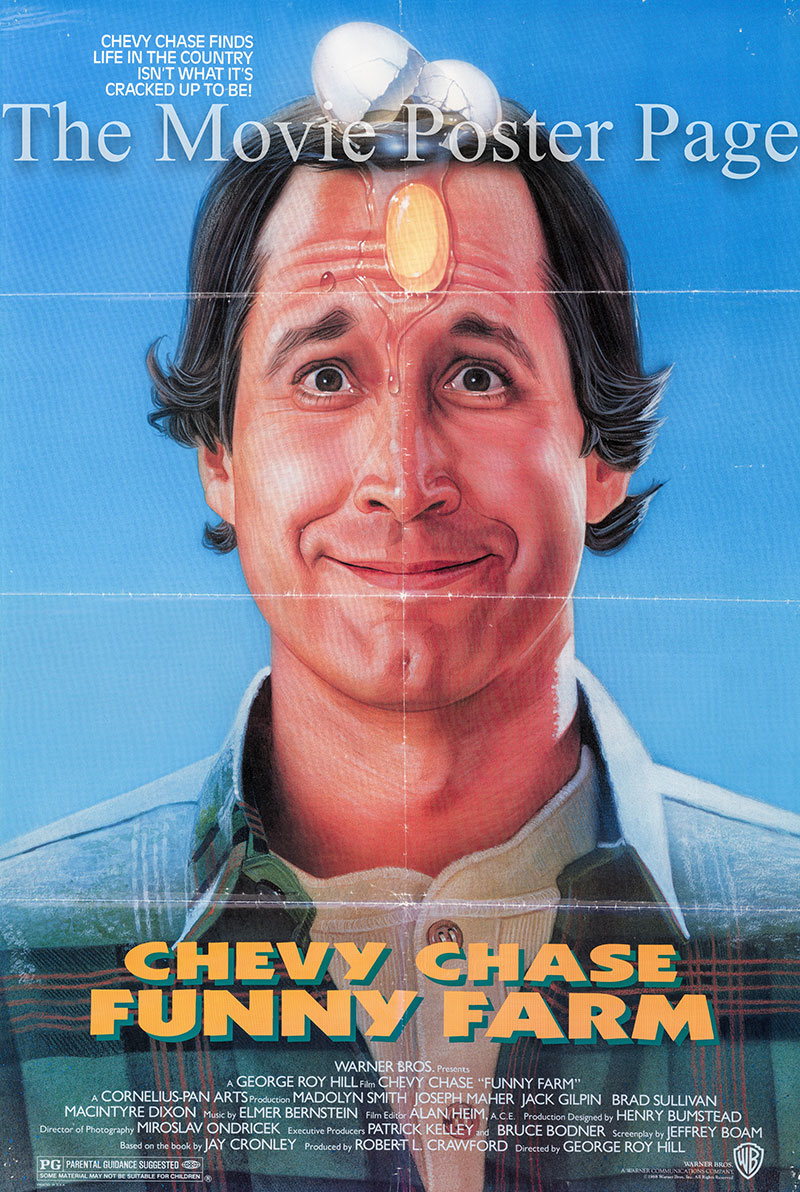 Pictured is a US one-sheet poster for the 1988 George Roy Hill Film Funny Farm starring Chevy Chase.