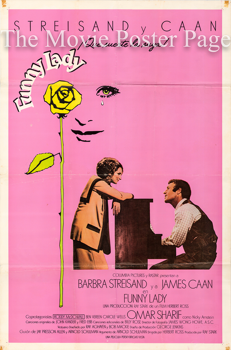 Pictured is a Spanish one-sheet poster for the 1975 HerbertRoss film Funny Lady starring Barbra Streisand as Fanny Brice.