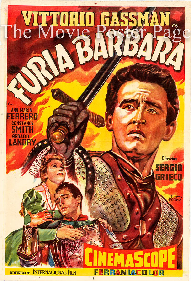 Pictured is an original Argentine one-sheet movie poster for the 1956 Sergio Grieco film The Violent Patriot starring Vittorio Gassman as Lodovico de Medici (1498-1526). Lodovico de Medici was the last of the Italian mercenary captains.  The original Italian title is <i>Giovanni dalle Bande Nere</i>.
