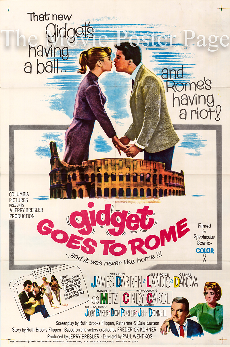Pictured is a US one-sheet poster for the 1963 Paul Wendkos film Gidget Goes to Rome starring James Darren.