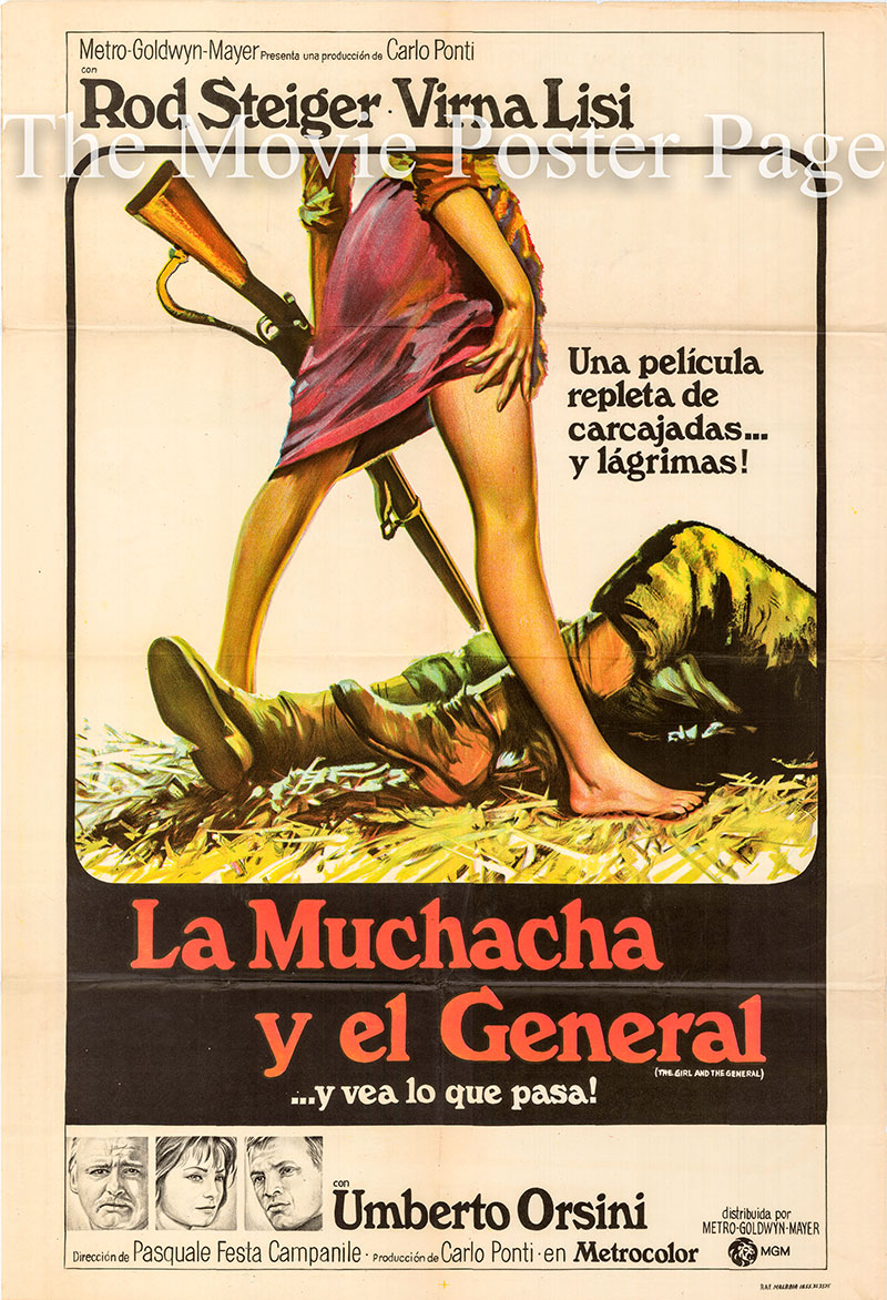 Pictured is an Argentine one-sheet poster for the 1967 Pasquale Festa Campanile film The Girl and the General starring Verna Lisi.