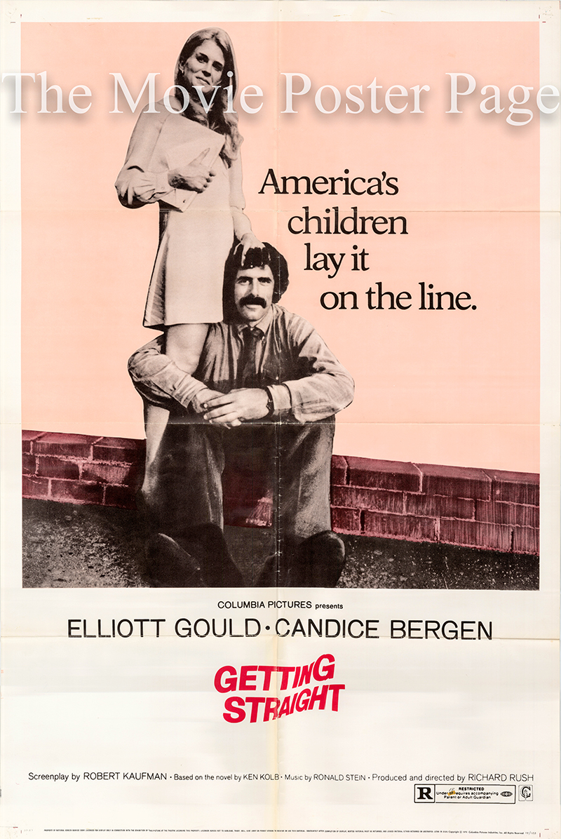 Pictured is a US one-sheet poster for the 1970 Richard Rush film Getting Straight starring Candice Bergen.