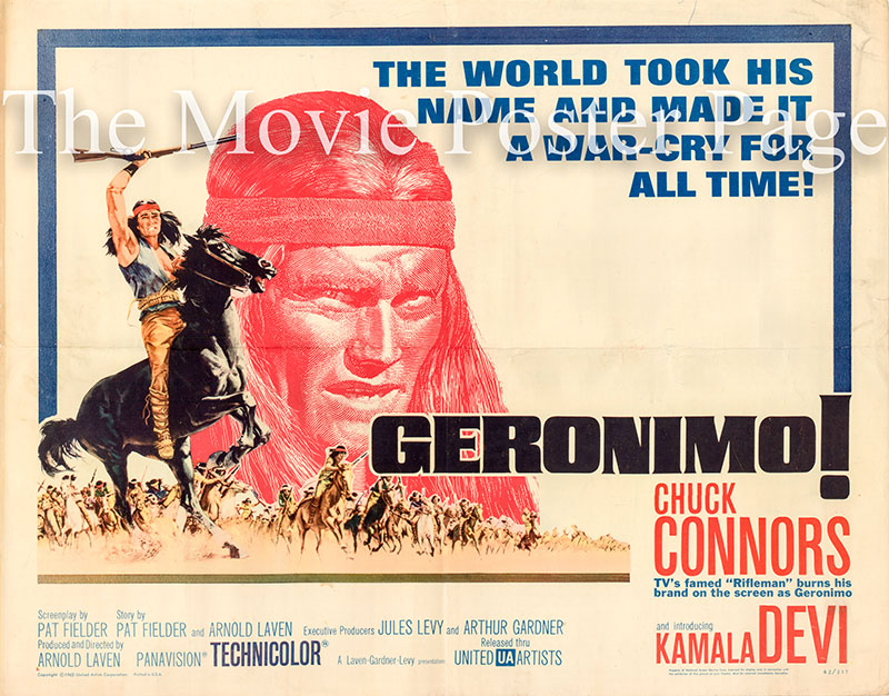 Pictured is a US half-sheet poster for the 1962 Arnold Laven film Geronimo starring Chuck Connors.
