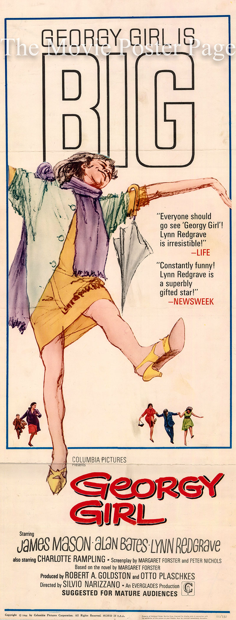 Pictured is a US insert poster for the 1966 Sylvio Narizzano film Georgy Girl starring Lynn Redgrave.