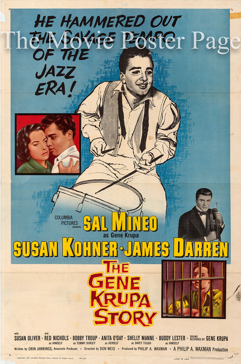 Pictured is a US one-sheet poster for the 1960 Don Weiss film The Gene Krupa Story starring Sal Mineo as Gene Krupa.