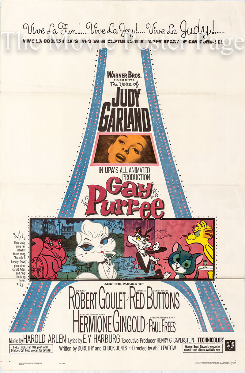 Pictured is a US one-sheet poster for the 1962 Abe Levitow film Gay Purr-ee starring Judy Garland as the voice of Mewsette.