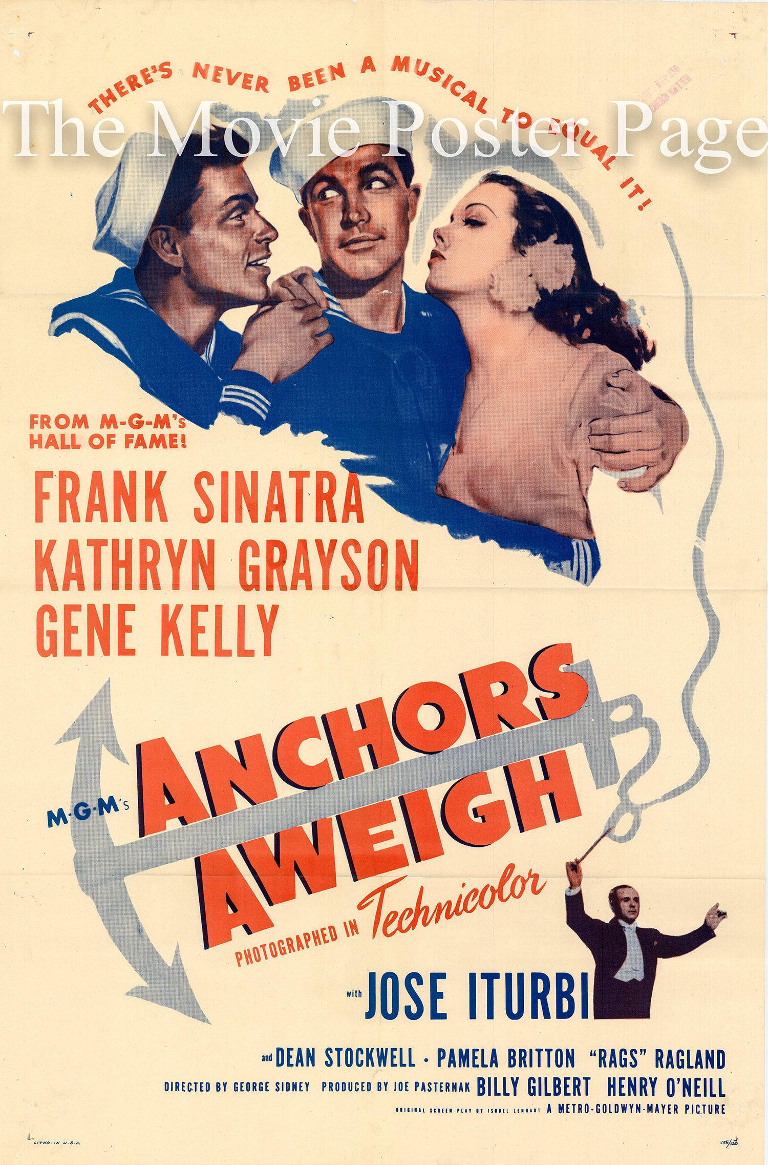 Pictured is a US promotional poster for a 1955 rerelease of the 1945 George Sidney film Anchors Aweigh starring Frank Sinatra and Gene Kelly.