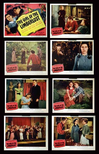 Pictured is a US lobby card set for the 1945 Mel Ferrer film The Girl of the Limberlost starring Ruth Nelson as Kate Comstock.