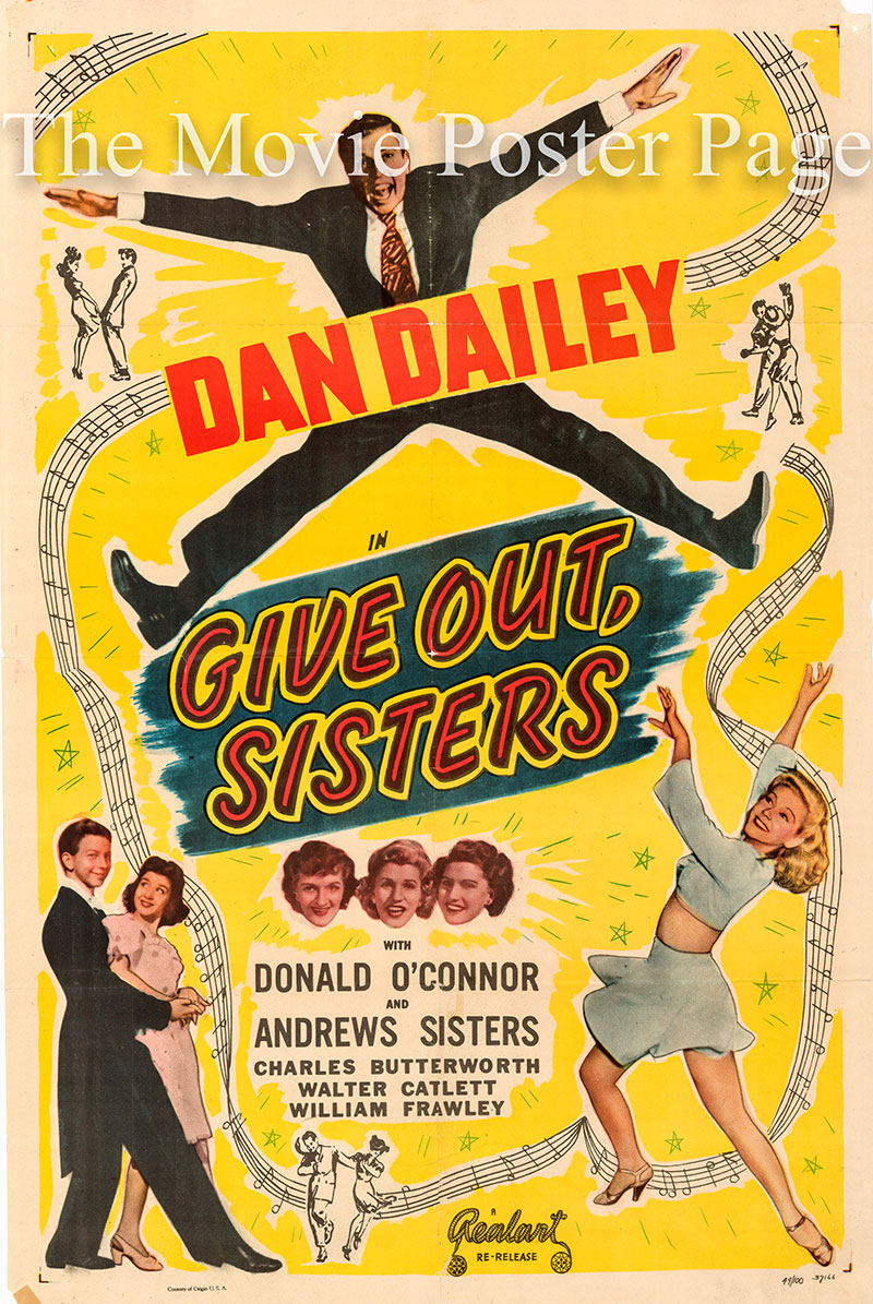 Pictured is a 1949 one-sheet rerelease poster for the 1942 Edward F. Cline film Give Out Sisters starring the Andrews Sisters.