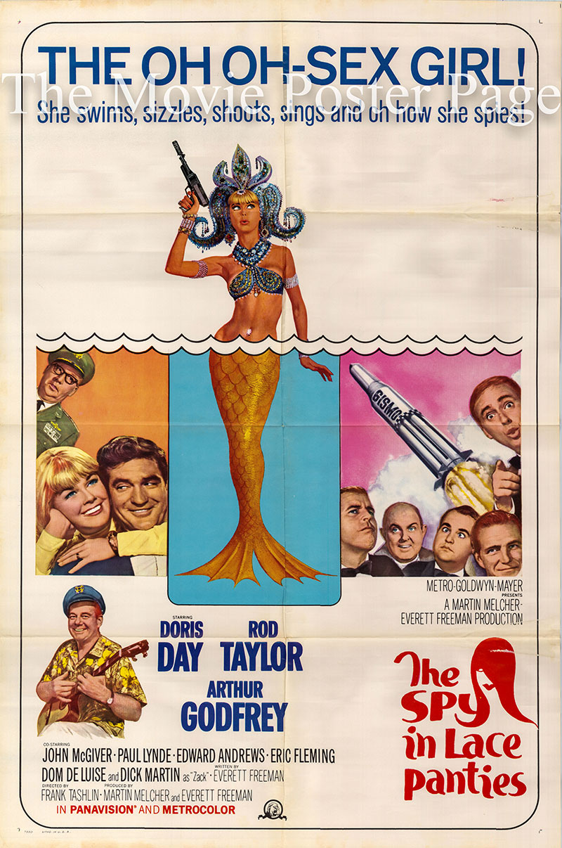 Pictured is a US one-sheet poster for the 1966 Frank Tashlin film The Glass Bottom Boat starring Doris Day as Jennifer Nelson.