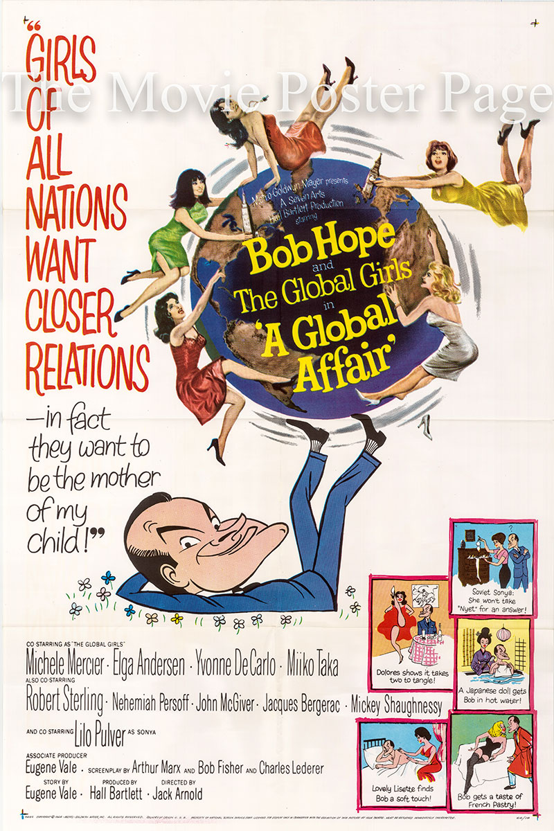 Pictured is a US one-sheet poster for the 1964 Jack Arnold film A Global Affair starring Bob Hope.