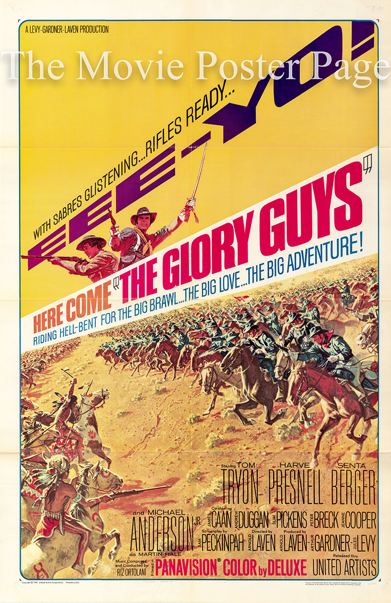 Pictured is a US one-sheet poster for the 1965 Arnold Laven film The Glory Guys starring James Caan.