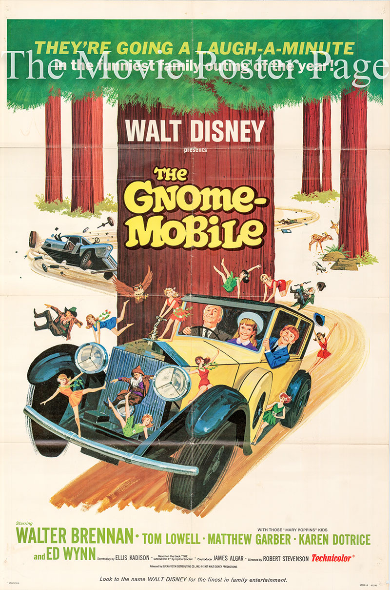 Pictured is a US one-sheet poster for the 1967 Robert Stevenson film the Gnome-Mobile starring Walter Brennan.