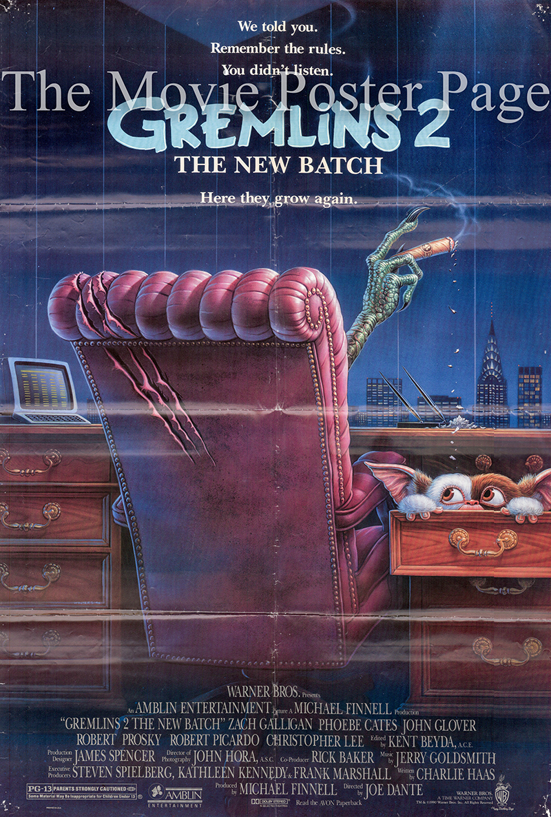 Pictured is a US one-sheet poster for the 1990 Joe Dante film Gremlins 2 starring Zach Galligan as Billy Peltzer.