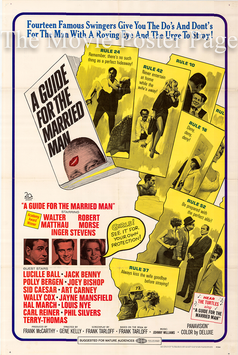 Pictured is a US one-sheet poster for the 1967 Gene Kelly film Guide for the Married Man starring Walter Matthau.