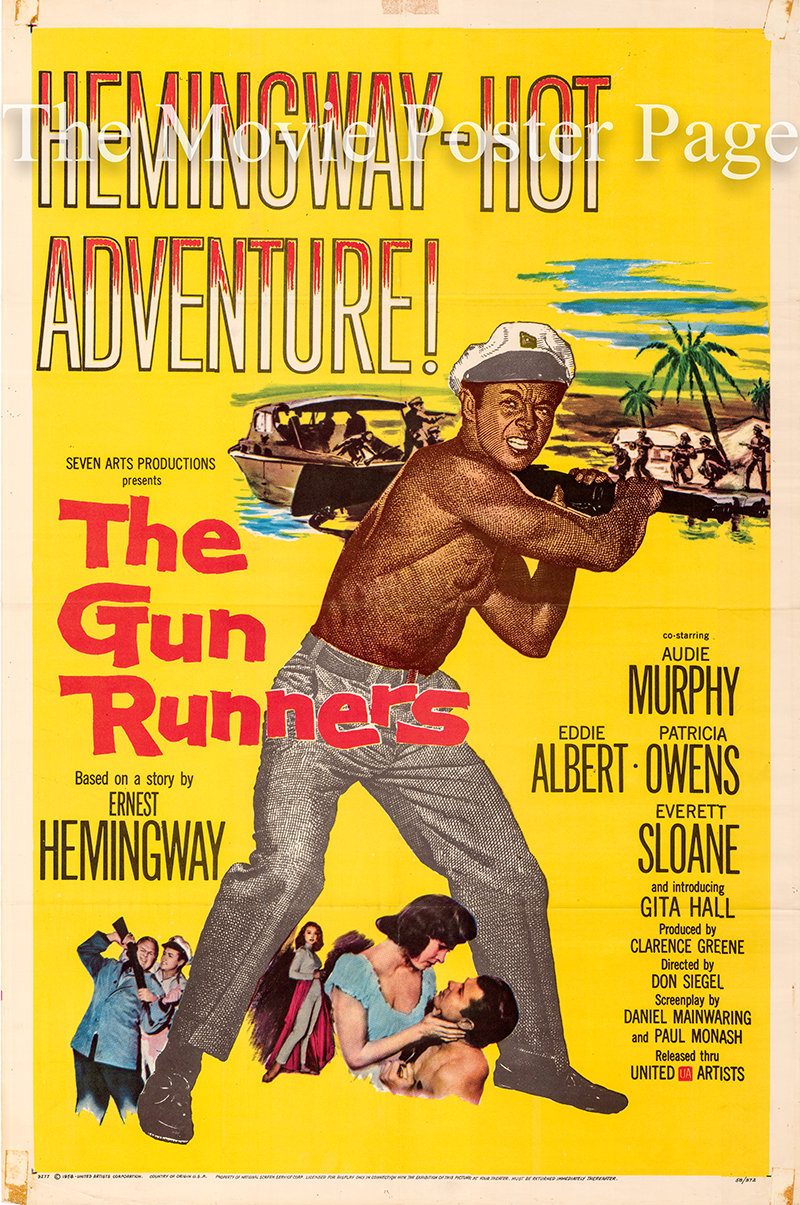 Pictured is a US one-sheet poster for the 1958 Don Siegel film The Gun Runners starring Audie Murphy.