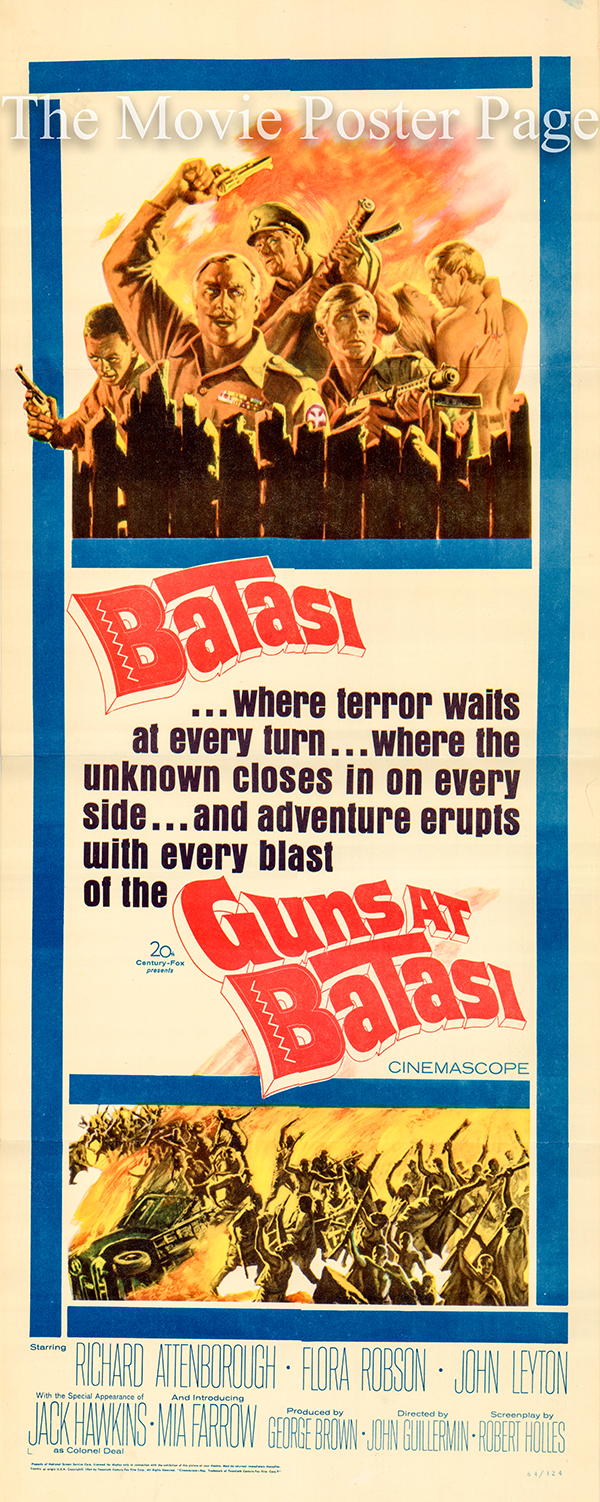 Pictured is a US promotional poster for the 1964 John Guillermin film Guns at Batasi starring Richard Attenborough.