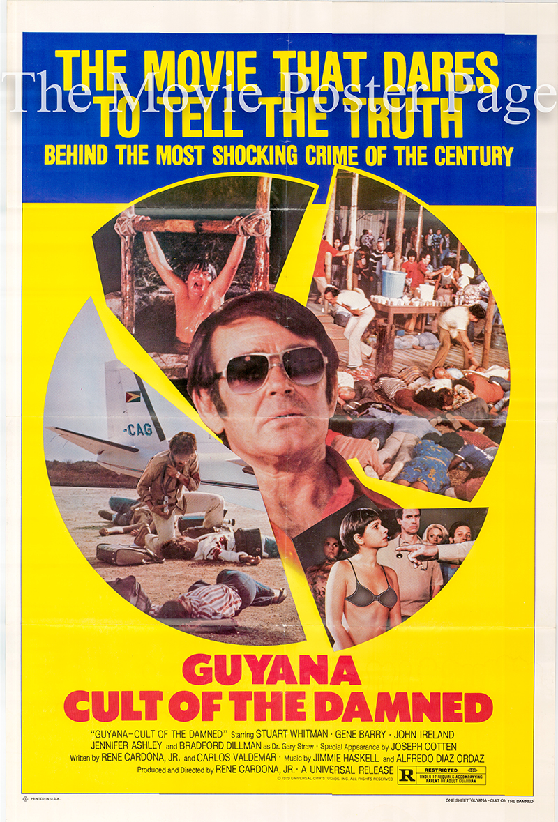 Pictured is a US one-sheet poster for the 1979 Rene Cardona Jr. film Guyana Cult of the Damned starring Stuart Whitman.