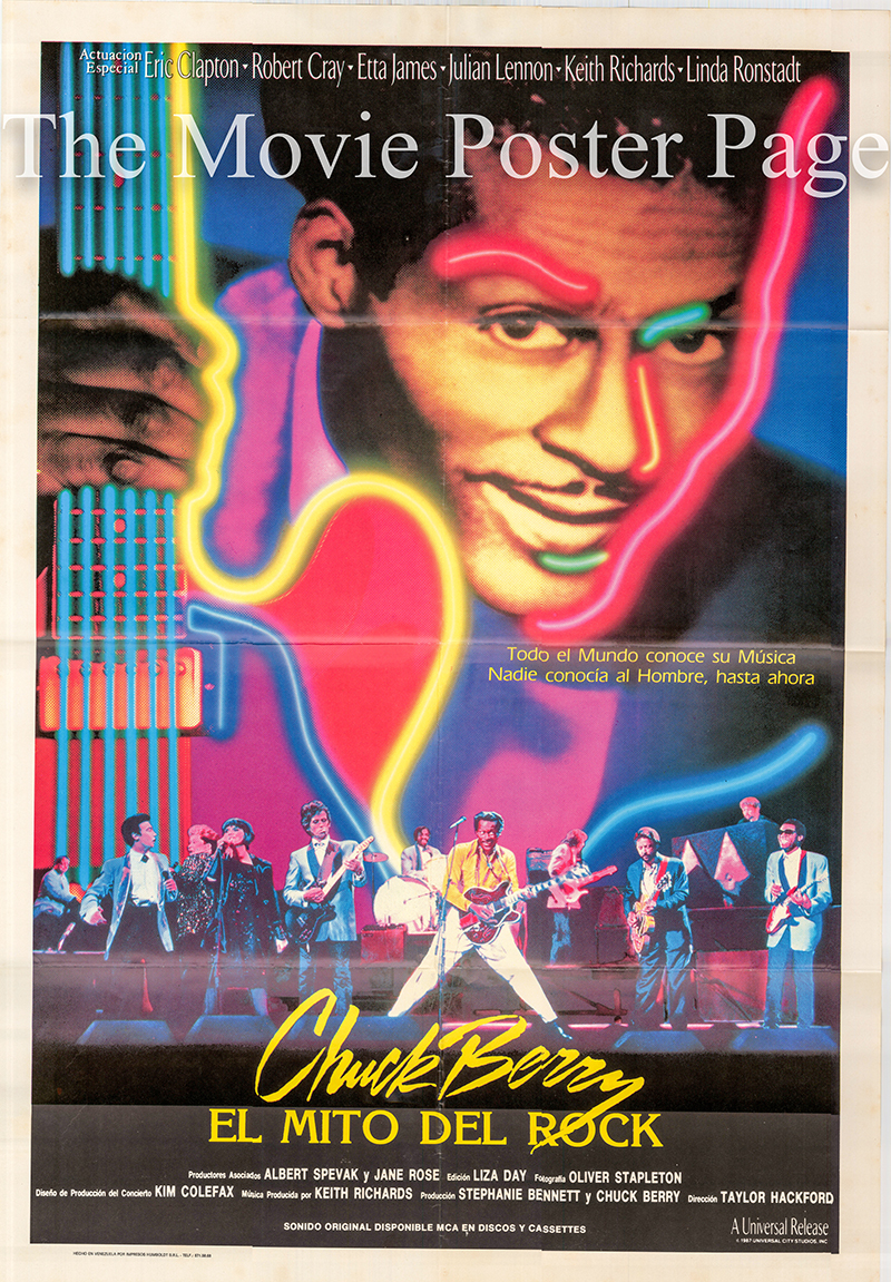 Pictured is a Spanish promotional one-sheet poster for the 1987 Taylor Hackford film Hail Hail Rock and Roll starring Chuck Berry.