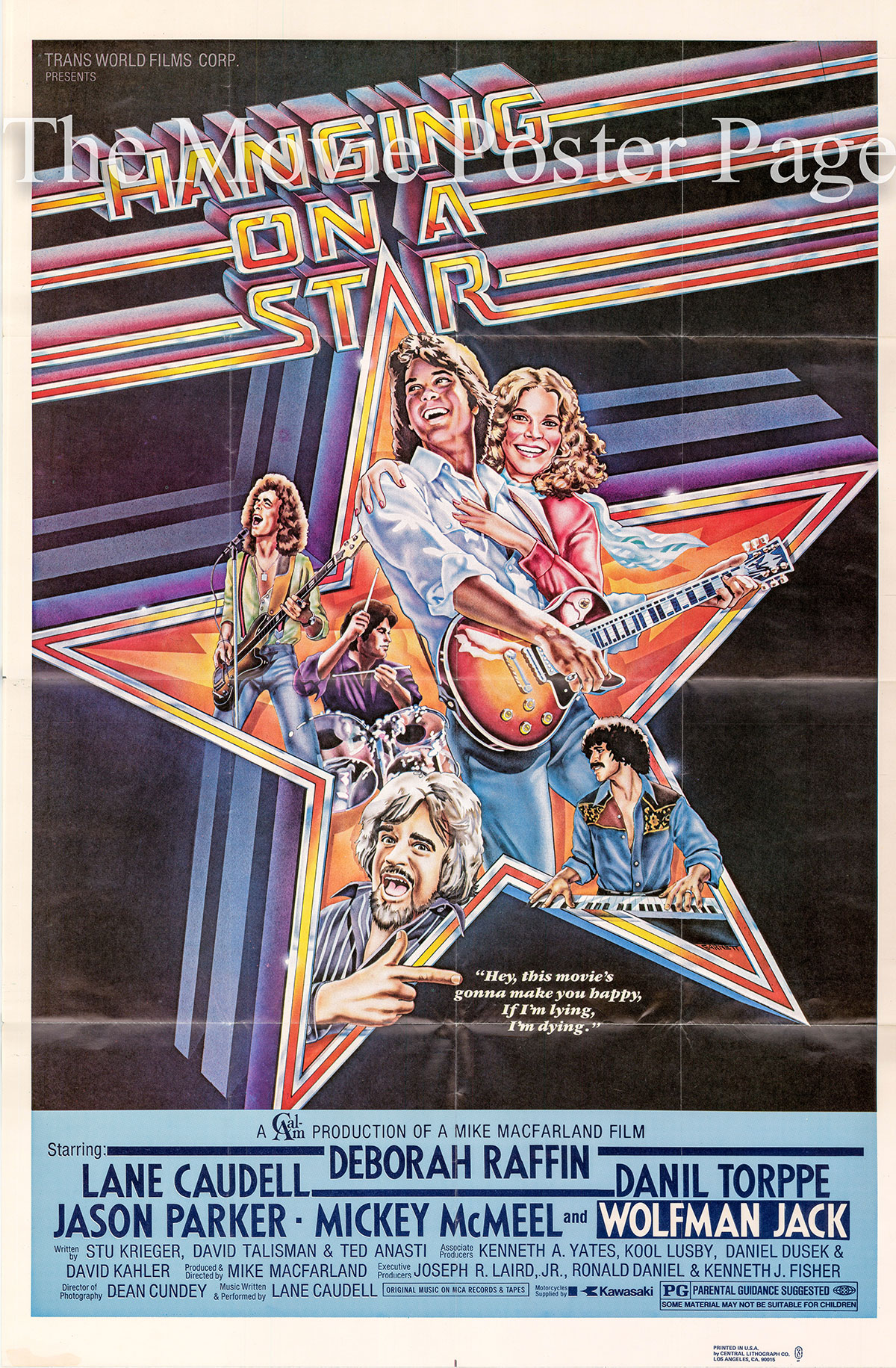 Pictured is a US one-sheet poster for the 1978 Mike MacFarland film Hanging on a Star starring Deborah Raffin as Katie Ross.
