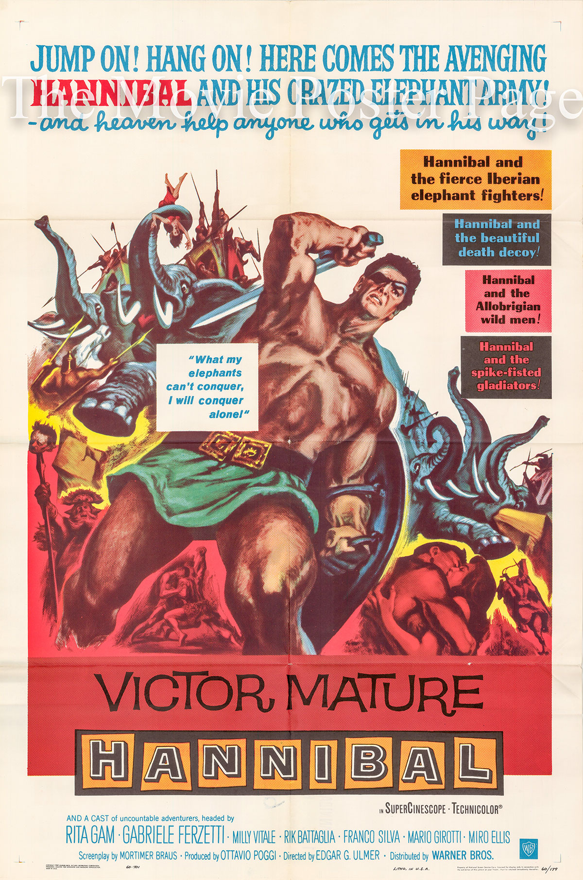 Pictured is a US one-sheet poster for the 1959 Carlo Ludovico Bragaglia film Hannibal starring Victor Mature as Hannibal.
