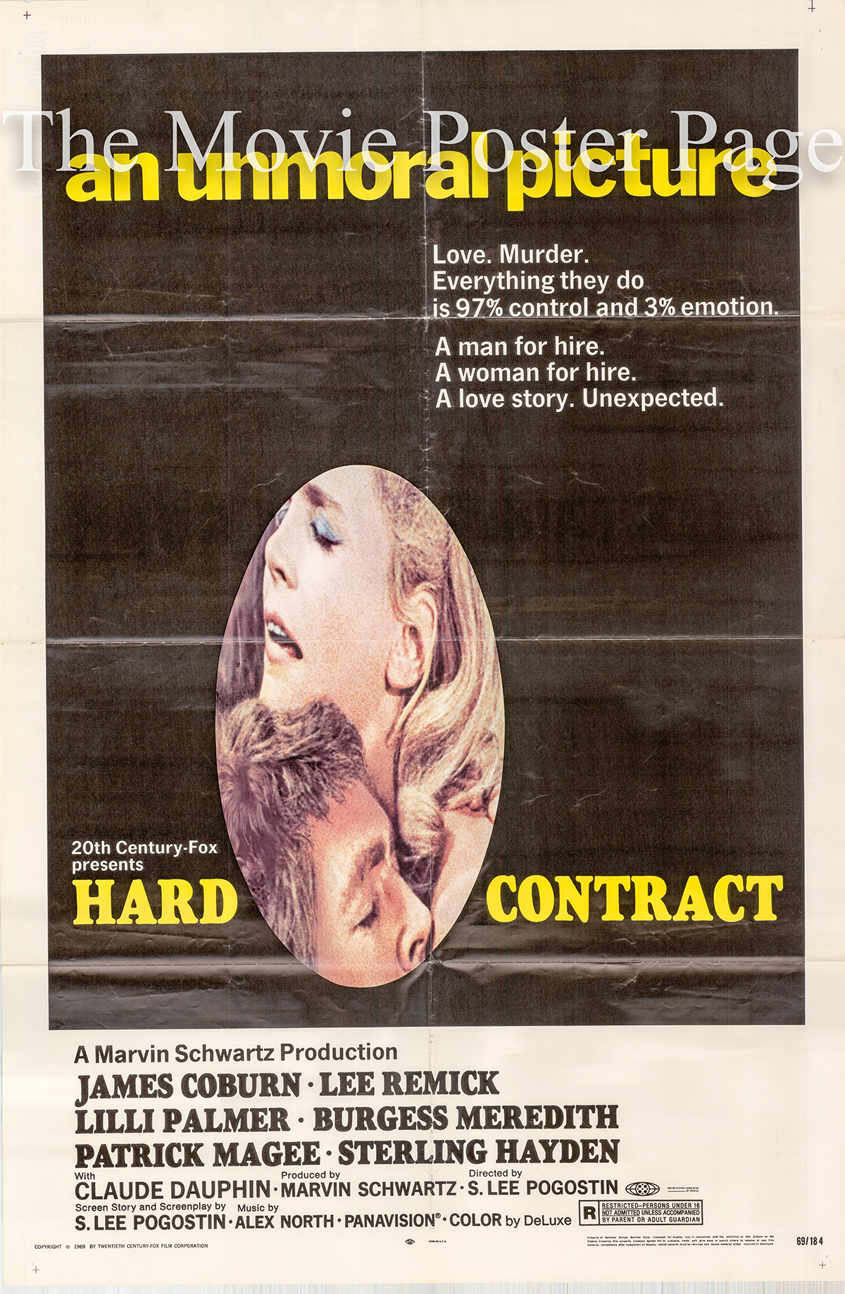 Pictured is a US one-sheet poster for the 1969 S. Lee Pogostin film Hard Contract starring James Coburn as John Cunningham.